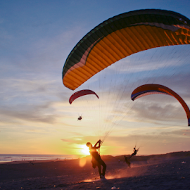 Try to Fly by Anton Nugroho - Sports & Fitness Other Sports ( sky, fly, sunset, air, beach )