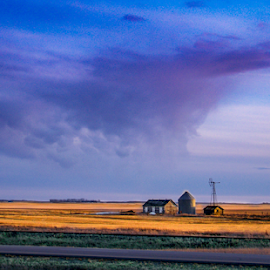 LITTLE HOUSE ON THE PRAIRIE by Udo Weber - Landscapes Prairies, Meadows & Fields ( farm, sky, sunset, cloud, house, prairie )