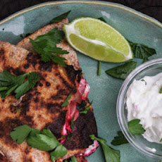 Beet And Goat Cheese Quesadillas With Beet Greens and Parsley