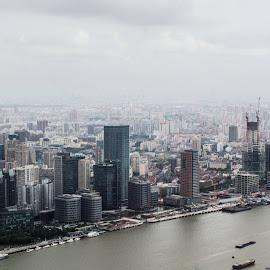 Shanghai Skyline  by Roland Planitz - City,  Street & Park  Skylines ( skyline, shanghai, china )