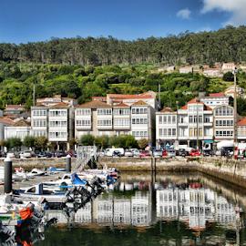 Muros Harbour by Antonio Amen - City,  Street & Park  Vistas ( muros, houses, boats, harbour, reflex )