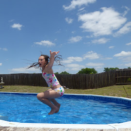 Pool jumping by Nita Andrews - Sports & Fitness Swimming ( clouds, water, sky, jumping, pool, swimming )