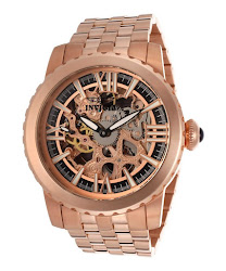 Invicta Men's Specialty Mechanical Skeletonized Rose Gold Dial 18K Rose Gold Plated SS