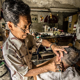 Old Barber by Davit Fu - People Professional People ( old style, barber, people )