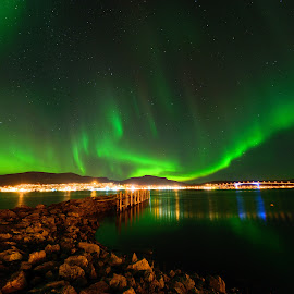 Sortland city under the northern lights by Marius Birkeland - City,  Street & Park  Skylines ( skyline, northern lights, aurora borealis, aurora, city,  )
