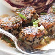 Sesame-Crusted Scallops with Green Onion Sauce