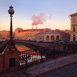 Morning in St Petersburg by Leidolv Magelssen - Instagram & Mobile iPhone ( building, russia, bridge, sunraise, canal )