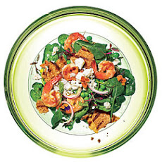 Spinach-Pea Salad with Grilled Shrimp