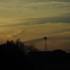 Windmill by Brian Hughes - Buildings & Architecture Other Exteriors ( clouds, mo, dusk, rural, windmill )