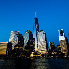The Newyork Skyline by Bharath Pasupuleti - City,  Street & Park  Night ( reflection, new york skyline, skyscraper, buildings, new york )