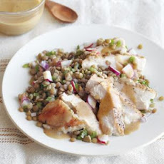 Chicken Breasts with Lentil-Radish-Mint Salad