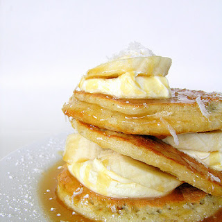 Coconut Pancakes With Bananas And Caramel Sauce