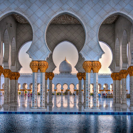 Grand Mosque by Darren Whiteley - Buildings & Architecture Places of Worship ( water, arch, mosque, uae, abu dhabi, worship )