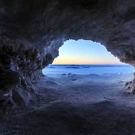 Ice Cave by Ann Sharpe - Landscapes Caves & Formations ( ice, sunrise, high quality, cave, in focus )