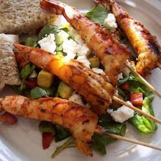Grilled Shrimp Skewers With Spinach Salad
