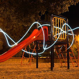 playground by Renco Gotovac - Abstract Light Painting ( playground, red, night, slide, painting, light,  )