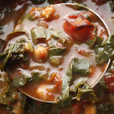 Roasted Tomato, Chickpea, and Swiss Chard Soup