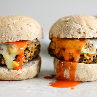 Crispy Buffalo Style Quinoa Sliders with Sweet Corn + Scallions