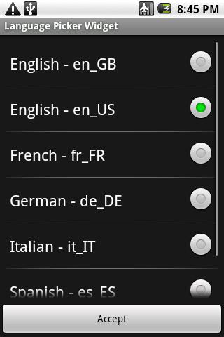 Language Picker Widget