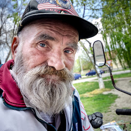 Granpa Zoran by Slavoljub Radojević - People Portraits of Men ( look, old, motorbike, grandpa, blue eyes, beard, man )
