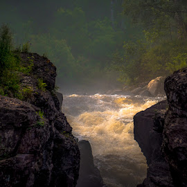 Temperance River Gorge by Gary Hanson - Nature Up Close Water ( water, gorge, falls, nor5th shore, lake superior, temperance river, rushing )