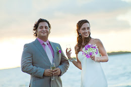 Newlyweds enjoying champagne after Hilton Fiji wedding