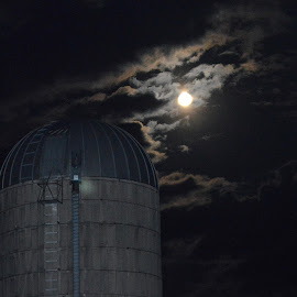 Autumn Sky on the Farm by Amy McGuire - Buildings & Architecture Other Exteriors ( clouds, moon, autumn, amy mcguire, silo )
