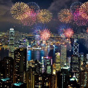 Hong Kong Fireworks by Giovanni MIrabueno - Abstract Fire & Fireworks