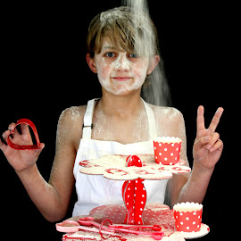 Love to Bake  by Kirsty Moulds - Food & Drink Cooking & Baking ( craftyportrait, red, flour, bake, children,  )