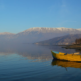 Gold boat by Olsi Belishta - Novices Only Landscapes ( pogradec, mountain, blue, lake, yellow, gold, albania, boat )