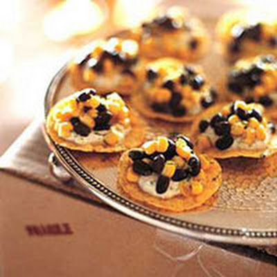 Tortilla Chips with Black Beans, Corn and Spicy Cilantro Cream