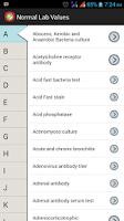 Screenshot of Normal Lab Values
