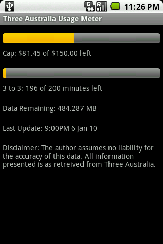 Three Australia Usage Meter