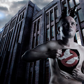 Who you gonna call? by Jon Webb - Digital Art People ( nude, movies, self, haunted, ghost, skin, fantasy, t-shirt, dramatic, photoshop, scary, logo, comp, nederland, busters, creative, ghostbusters, male, movie, self portrait, netherlands, portrait, composite, holland, utrecht, conceptual )