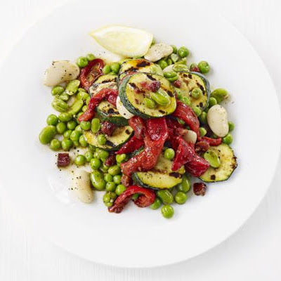 Butter Bean, Grilled Courgette, Roast Red Pepper & Chorizo Salad