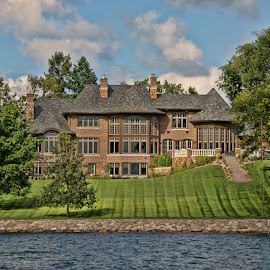 Life on the Lake by Luanne Bullard Everden - Buildings & Architecture Homes ( lawn, lakes, buildings, windows, architecture, homes )