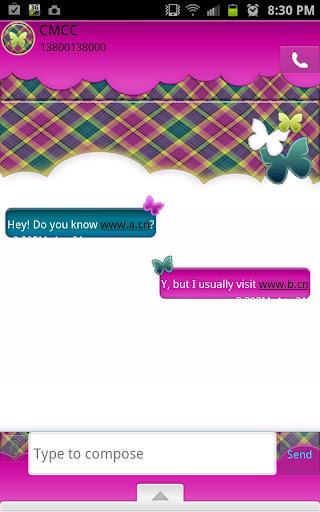 GO SMS - Butterfly Plaid Sky