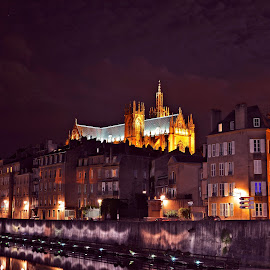 Cathédrale Saint-Etienne de Metz / France by Dragan Rakocevic - City,  Street & Park  Night (  )