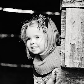 Erin by Ali Reagan - Babies & Children Children Candids ( playing, girl, barn, vintage, black and white,  )