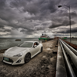 Toyota 86 by Ferdinand Ludo - Transportation Automobiles ( cloudy day, toy car, pier end, pearl white )