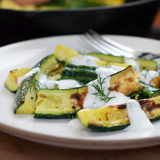 Broiled Zucchini with Yogurt-Dill Sauce