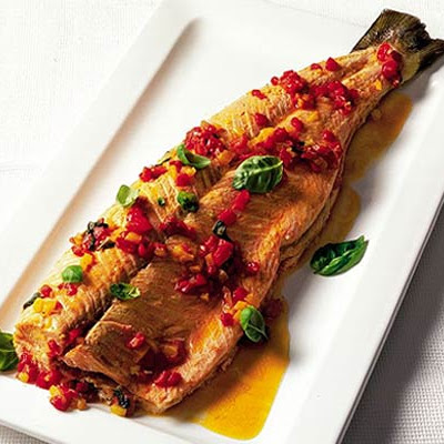Oven-poached Salmon With Sweet Pepper & Basil Sauce