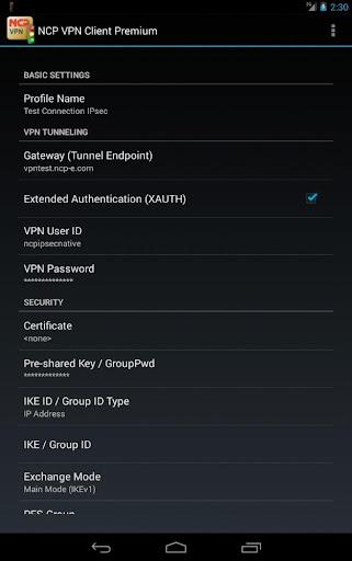 NCP VPN Client Premium - screenshot