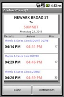 Screenshot of OneTouchTrain - NJT