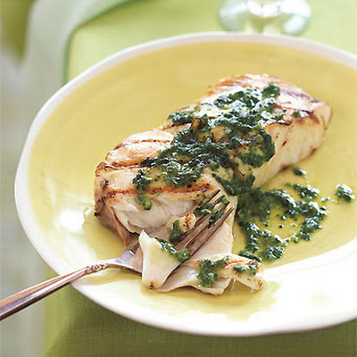 Grilled Halibut with Basil-Shallot Butter