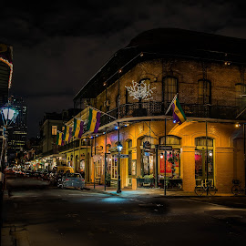 New Orleans After Dark by Sheldon Anderson - City,  Street & Park  Street Scenes ( new orleans, streetscapes, night photography, street, dramatic, french quarter, night, street lights )