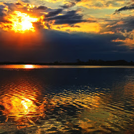 Sunrise by Precinbe Stock - Nature Up Close Water ( water, clouds, reflection, sky, nature, lake, sunrise, sun )