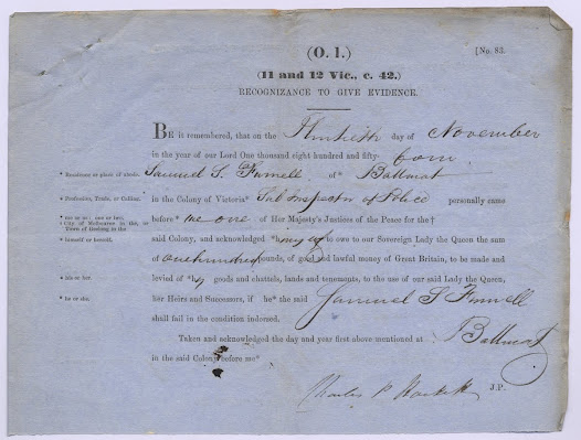 ".  This document contains the whole charge against Duncan McIntyre for breach of the peace on 30 November 1854, including depositions, recognizances to give evidence, and the written charge itself. <a href=""http://wiki.prov.vic.gov.au/index.php/Eureka_Stockade:Depositions_taken_against_Duncan_McIntyre_for_Breach_of_the_Peace_charge/Gravel_Pits_Riot"">Click here to see more of this record on our wiki</a>"