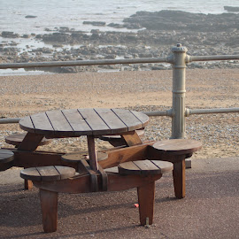 Hastings Beach by Martyna Sumarti - Novices Only Objects & Still Life ( chairs, sea, table, beach, rocks, Chair, Chairs, Sitting )