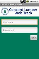 Screenshot of Concord Lumber Web Track